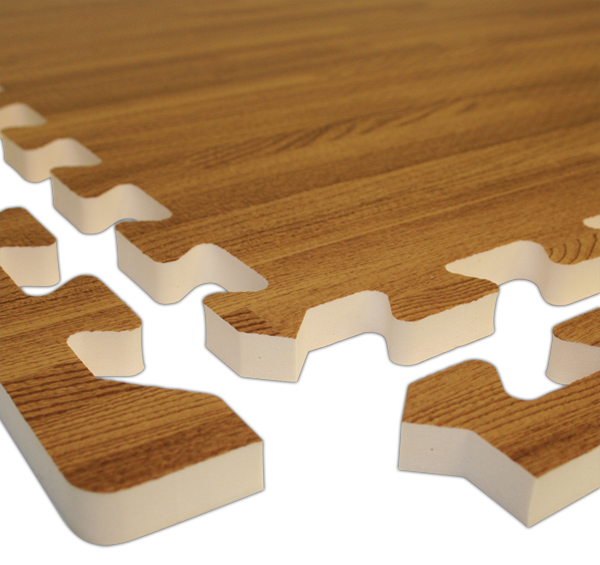 Realsoft wood foam tiles are puzzle mats by for Wood floor mat
